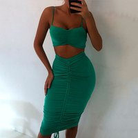 Womens Sexy  Crop Top Wrap With Adjust Mini or Pencil Skirt 2 Piece Set Club Party Dress