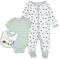 3Pcs China Factory Printed 100% Cotton Summer Baby Boy Clothing Clothes Set Newborn
