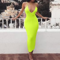 Neon Yellow Orange Sexy Summer Maxi Dress Spaghetti Strap Deep V Backless Tight Bodycon Dresses for Woman 2019