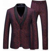 Men wedding fit blazer 2018 western style latest design 3 pieces  coat pant men suit