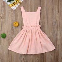 summer 2019 Toddler Kid Baby Girls Ruffle Dress Cotton Linen Backless Sleeveless Dress Little Princess Dress Sundress clothes