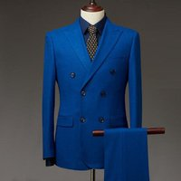 Hot selling 100% italian wool fabric for mens suit custom tailor made double breasted design suits