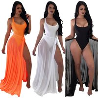 2019 Women 2 pcs Swimwear Transparent Chiffon Sexy Beach Dress Beach Cover Up Bikini Cover up Maxi Skirt