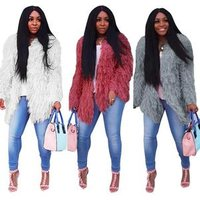 women fashion solid faux fur cardigan MN183