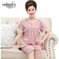 support one piece of delivery ladies pyjamas nightshirt for women pijamas middle-aged and short-sleeved cropped trousers