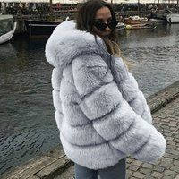Amazon hot sale New winter warm clothes ladies faux fur oversize hoodie jacket quilted thicken overcoat Fox fur coat for women