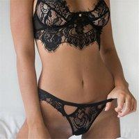 Women Perspective Sexy Erotic Lingerie Sleepwear Set Lace Corset Vest Top Bra+ G-string underwear for Female Girl