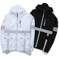 Custom Oem Hooded Casual Sports Hip Hop Safety uniform Outdoor Windproof Reflective Jacket Trench Coat