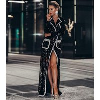 A2698 Christmas OEM New Arrival High Quality R Women Long Sleeve Luxury Black White Sequin Style  Maxi Coat