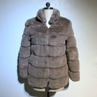 European popular long style faux rabbit fur winter warm coat
