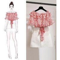 wholesale 2019 ladies fashion dresses floral printed chiffon blouse and one step skirt two pieces set women casual dress