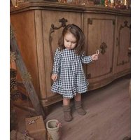2019 new  Boutique Girls Clothing Fashion Baby Girls plaid fabric Linen Cotton Dresses longsleeve dress