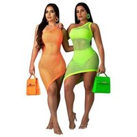 Fluorescent Color Sexy Hollow Out Bikini Cover Up Beach Dress With Underwear