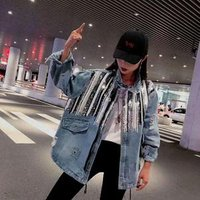 2019Spring New arrival ladies ripped jeans coat womens drawstring cotton denim jacket oversize sequins jean jacket