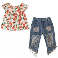2Pcs Floral Toddler Baby Girls Outfits Suit Pineapple Print Off Shoulder Tank Tops Blue Denim Shorts Summer Set