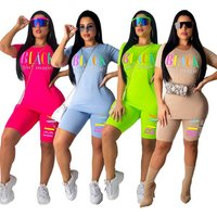 New Arrivals Fashion Women Casual O-Neck Short Sleeve T-shirt Short Pants 2 Pieces Set Letter Printed Romper Outfits Tracksuit