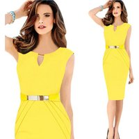 JS 20 Good Sales Enough Stocked Yellow Mature Lady Pencil Formal Dress 701