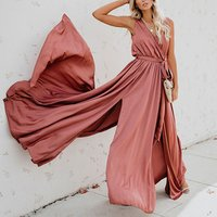 Bohemian Style Solid Color Split Sleeveless Dresses Summer Women Boho Maxi Dress