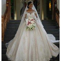 Vintage Long Sleeve Lace Wedding Dresses Ball Gown Satin Sequin Wedding Gowns Wedding Dresses WD6120