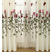 Embroidery 100% polyester curtain with voile fabric