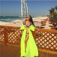 One Size Beach Outings Cover up Chiffon Robe Plage Candy Color Kaftan Dress Pareos For Women Beach Tunic Sarong Swimsuit Q5354
