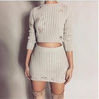 Women Sexy Spring Knitted Tops and Mini Dress 2 Piece Set Fashion Hollow Out Short Bodycon Skirt and Sweater Two Piece Set