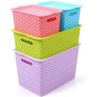 China cheap durable High quality PP warehouse storage box plastic basket with handle