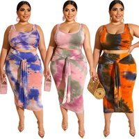 Hot plus size  women 2019 summer womens two piece short tops with long dress clothes  xxl -4xl size for big woman