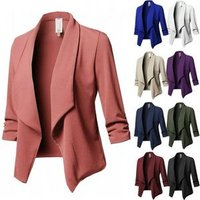10 colors S-5XL Plus Size Women Clothing Tops Coat Cardigan Slim Long Sleeve Pleated Solid Color Wild Small Suit Jacket