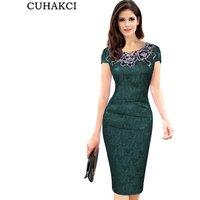 Plus Size Lace Floral Retro Bodycon Formal Dress Women New Knee Length Pencil Office Dress