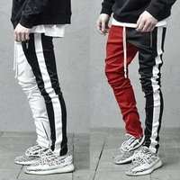Mens Casual Colorblocked Individual Pants with Double Color Hip Hop Slim Pants Sports Trousers