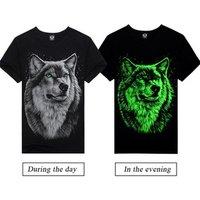 Hot Selling New Lycra Cotton 3D Printing Luminous T-Shirt Men
