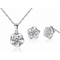 Plum Flower 925 Sterling Silver Jewelry Set Price Of 1 Carat Diamond Fashion Artificial Jewellery