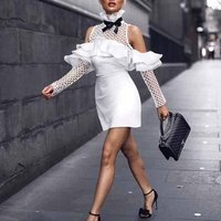 designer women party wear white halter sexy lace flower rayon bandage dress mini evening dresses for ladies sex pictures C1151