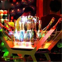 LED Luminous Beer Wine Bottle Holder Led Charging Bucket 6/12 Bottled Champagne Size Boat Shaped Ice Bucket