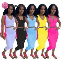 9S00913 hot sale solid color sexy sleeveless crop top and pencil skirt two piece sets women