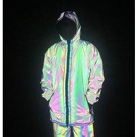 China Factory custom Full Zip up Face  hood Coat Wholesale Cheap Blank mens rainbow reflective jacket