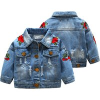 Korean style high quality rose embroidered baby girl denim jacket for 3-8 years old