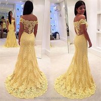 Evening Dresses Robe de Soiree Custom Made Floor Length Long Evening Dress Yellow Lace Prom Gowns