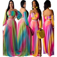 Online Shopping off shoulder maxi sexy club dress 3 pieces set mesh long style dress