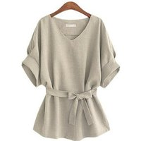 Summer Women Blouses Linen Tunic Shirt V Neck Big Bow Batwing Tie Loose Ladies Blouse Female Top For Tops 5XL 30% off