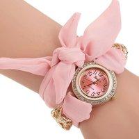 Yiwu Watches Womens Fresh Rhinestone Round Case Cloth Strap Dress Bracelet Wrist Watch WW071