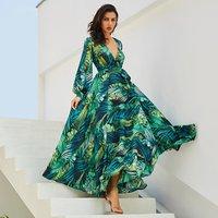 Long Sleeve Dress Green Tropical Beach Vintage Maxi Dresses Boho Casual V Neck Belt Lace Up Tunic Draped Plus Size Dress 50% off