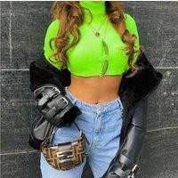 Women Fluorescent Green Pullovers Winter Streetwear Casual Turtleneck T shirt Long Sleeve Autumn Crop Top Women