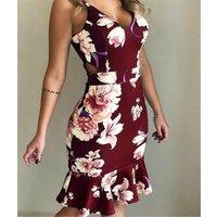Plus Size 5XL  NEW Womens Fashion Summer Sleeveless V-neck Braces Skirt Sexy Floral Print Tunic Braces Skirt Dress Maxi Dress