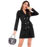 2018 Women Double Breasted Long Blazer Office Dress
