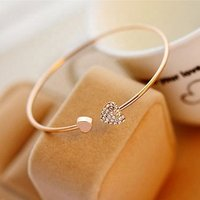 Free Shipping Korean Student Jewelry Simple Heart 18k Gold Bracelet Bangle Woman