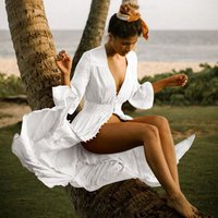 Bikini Cover Up Lace Hollow Crochet Swimsuit Beach Dress Women Cover-Ups Bathing Suit