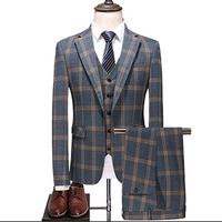 2018 amazon hot sale three piece groom wedding latest design blue coat pant men suit made in china