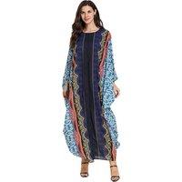 Floral printed islamic women latest kaftan dress designs african pakistani moroccan beach chiffon long silk muslim dubai kaftan